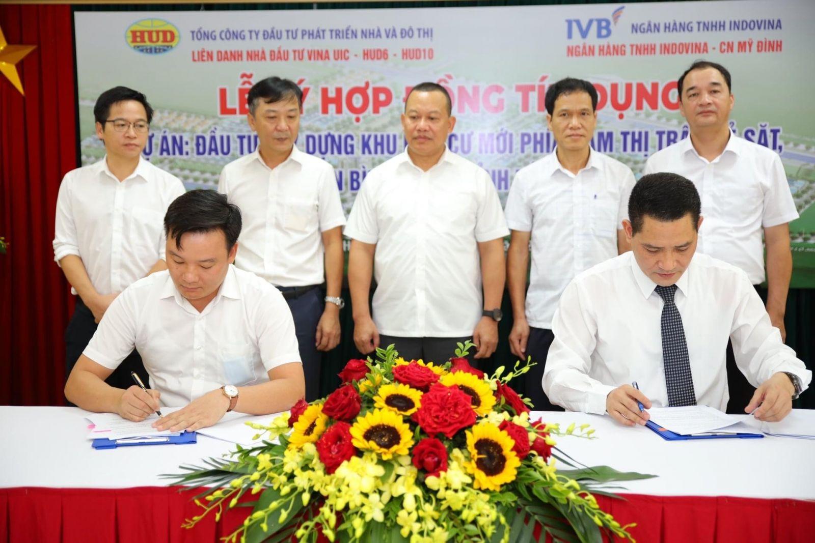 Liên danh VINA UIC - HUD6 - HUD10 và Ngân hàng IVB ký kết hợp đồng tín dụng triển khai Dự án: Đầu tư xây dựng Khu dân cư mới phía Nam thị trấn Kẻ Sặt, huyện Bình Giang.